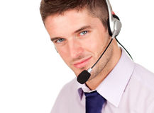 Businessman talking on a headset Stock Photo
