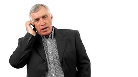 Businessman talking on his mobile phone. stock video