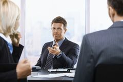 Businessman talking at meeting Royalty Free Stock Image