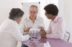 Businessman talking at a meeting- recruitment review Stock Photos