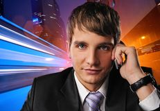 Businessman talking on mobile phone Royalty Free Stock Photo