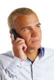 Businessman talking on mobile phone. Royalty Free Stock Photos