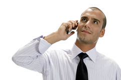 Businessman talking on mobile phone Royalty Free Stock Photos