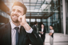 Businessman talking on mobile phone. In office premises Royalty Free Stock Image