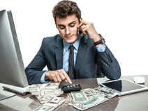 Businessman talking by mobile phone Stock Photography