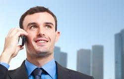 Businessman talking at phone Stock Photos