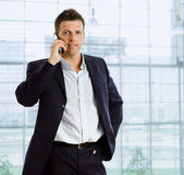 Businessman talking on phone Royalty Free Stock Image