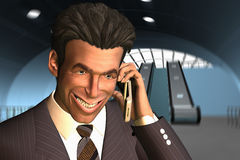 Businessman Talking On Phone With A Big Smile Royalty Free Stock Image