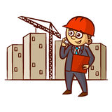 Businessman Talking On The Phone at the Construction Site Royalty Free Stock Photos