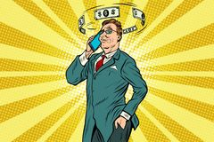 Businessman talking on the phone about finances. Pop art retro vector illustration Stock Image