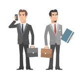 Businessman talking on phone holding folder briefcase Stock Images