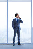 Businessman talking by phone Stock Images