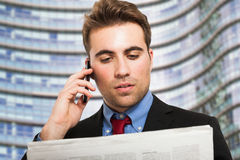 Businessman talking on the phone Stock Image