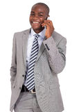Businessman talking smart phone Stock Photography