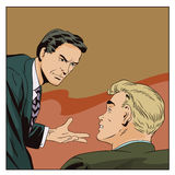 Businessman talking something a colleague. Stock illustration. People in retro style pop art and vintage advertising. Businessman talking something a colleague Royalty Free Stock Images