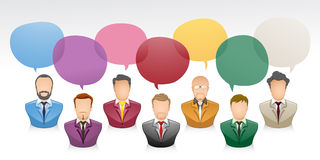 Businessman talking with speech bubble. Vector illustration of a communication between businessman with colourfull speech bubble Royalty Free Stock Photography