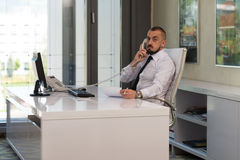 Businessman Talking On Telephone And Using Computer Stock Photography