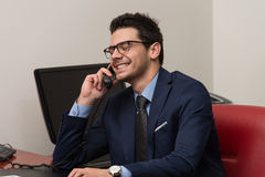 Businessman Talking On Telephone And Using Computer Royalty Free Stock Photos