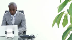 Businessman talking to a colleague in his office. Panorama of businessman talking to a colleague who is using a laptop in office. Footage in high definition stock video footage