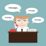 Businessman talking using phone. Businessman office desk phone worker Royalty Free Stock Images