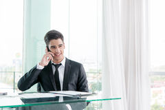 Businessman talking via cell phone Royalty Free Stock Image