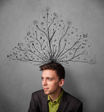 Businessman with tangled lines coming out of his head Stock Images