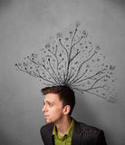 Businessman with tangled lines coming out of his head Stock Image