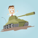 Businessman in a tank Royalty Free Stock Image