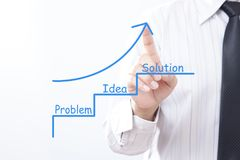 Businessman tap arrow pointing up with Problem Idea Solution - M stock photography