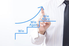 Businessman tap arrow pointing up with win win again win more co. Ncept Royalty Free Stock Images