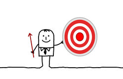 Businessman & target. Hand drawn cartoon character - businessman & target Stock Image