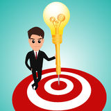 Businessman in target area whit dart lightbulb Royalty Free Stock Photo