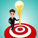 Businessman in target area whit dart lightbulb Royalty Free Stock Photo