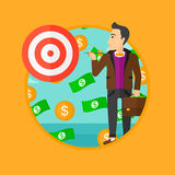 Businessman with target board. Royalty Free Stock Images