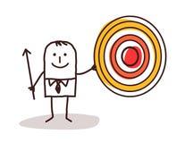 Businessman and target. Cartoon Royalty Free Stock Photo