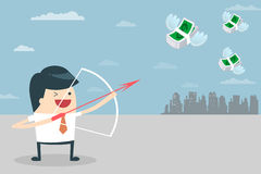 Businessman target with money. Businessman Target. Vector illustration of Businessman aiming the target with his bazooka. Business people who aim to have a royalty free illustration