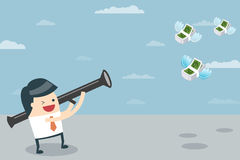 Businessman Target With Money. Businessman Target. Vector illustration of Businessman aiming the target with his bow and arrow. Business people who aim to have a vector illustration