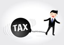 Businessman Tax Concept. Businessman locked in a debt ball and chain. Businessman with debt burden Royalty Free Stock Images