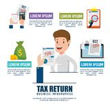 Businessman with tax set icons. Vector illustration design Royalty Free Stock Images