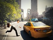 Businessman and taxi Royalty Free Stock Photography