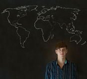 Businessman, teacher or student with world geography map on chalk background Royalty Free Stock Images
