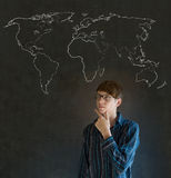 Businessman, teacher or student with world geography map on chalk background Royalty Free Stock Photography