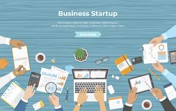 Businessman team discuss project startup, investment, financial planning, agreement, analysis data, realization, success. Documents, laptop, business guide vector illustration