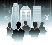 Businessman team in front of world map Royalty Free Stock Photo