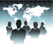 Businessman team in front of world map Royalty Free Stock Photos