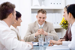 Businessman and team at office Royalty Free Stock Images
