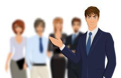 Businessman with team Stock Images
