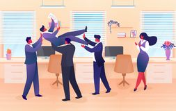 Businessman Team Tossing in Air Colleague, Success royalty free illustration