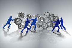 The businessman in teamwork concept with cogwheels Royalty Free Stock Photography