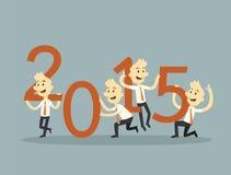 Businessman teamwork holding 2015. Businessman holding number 2015,  teamwork  concept Stock Photo